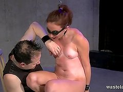 Chained blindfolded slave given orgasms