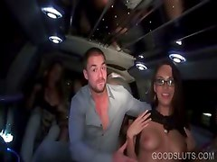 Limo sexparty with stripping hot tramps