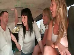 Hot teen girls strip for 4some in the bus