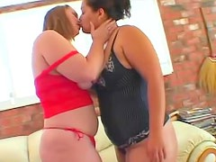 Fat lesbos are naughty dildo sharing sluts