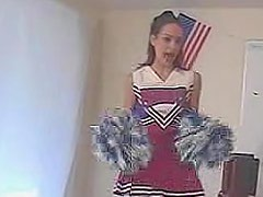 Skinny cute cheerleader strip and masturbation