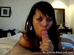 Cute Asian chick gives amazing blowjob right here