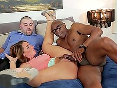 sexy milf is fed up with lazy husband so she bringshome a huge bbc to fuck