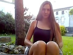 after school upskirt pussy flash in my parents garden