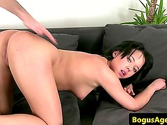 Casted amateur doggystyle fucked after bj