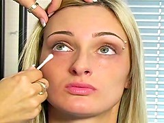 Makeup for pierced eyebrow blonde