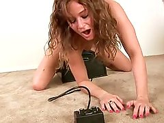 Young girl has fun on the sybian full