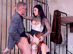 Two jailhouse Euro sluts Fuck one lucky stud.