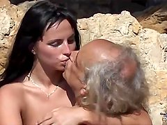 Dirty girl rimming and sucking old cock