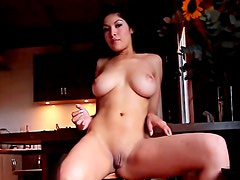 Shaved pussy chick posing