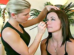 Little tits teen girl in makeup chair