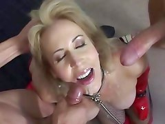 Alluring Erica Lauren gets her face splattered with cum