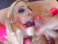 Raunchy Puma Swede gets her mouth filled with cum