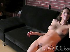 Blowjob Fit brunette with amazing natural tits