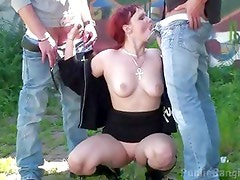 PUBLIC THREESOME SEX by a TRAM STATION on a street NICE