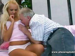 Sexy blond fucks her chubby sugardaddy