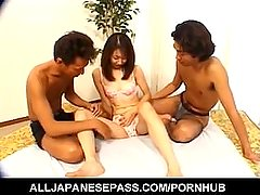 Japanese AV Model sucks hard penis while getting doggy style