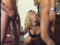 Lucky tranny gets double the cock
