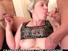 Granny takes two cocks after masturbation