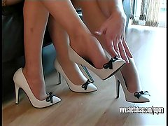 Sexy slender high heeled babes talk dirty for your shoe fetish cum