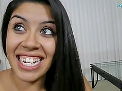 Amber Espinoza amateur Latina takes huge facial casting audtion interview