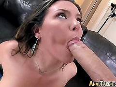 Busty Brunette Swallows Cum During Anal Pound