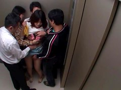 Elevator Fun With An Asian Babe With Big Natural Tits
