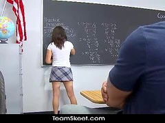 Fake tits schoolgirl teen Charity Bangs shaved pussy big cock sex
