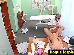 Real euro jizzed on by dirty dr in his office