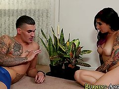 Tatted whore gets facial