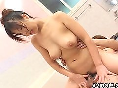 Hot Asian babe in her sexy lingerie sucking dick
