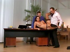 Sexy secretary Cindy Hope is threewayed in the office