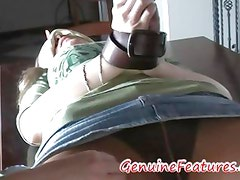 Horny milf in pantyhose tied blindfolded and teased