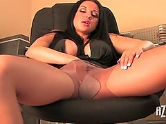 Beauty plays with her pantyhose, fingers her pussy and masturbates with toy