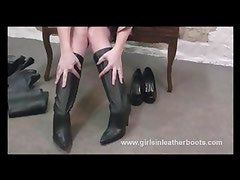 Posh Milf can't decide which leather boots to wear