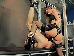 Blonde Domme Fucks slave Up its Ass Two