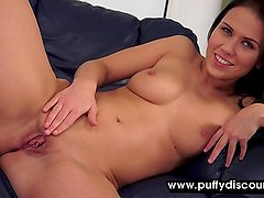 Brunette with big tits makes her pussy wet