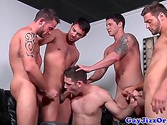 Hunk cum covered after sucking and fucking hot group of muscle - Jamesxxx71