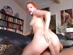 Horny Emily Davinci rides her pussy on this thick cock