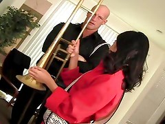 Sexy Asian swaps her instrument for a skin flute