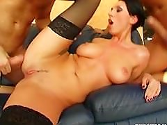 Prime Cups Genuine round breast beauty banged by 2 beastly cocks