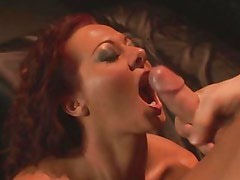 Sandra Romain gets her mouth filled with warm jizz
