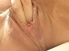 plays with cream pie cleans fingers in mouth