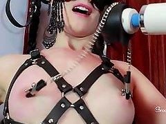 Hot Bondage Slut Plays With Nipple Clamps And Teases Pussy With A Hitachi