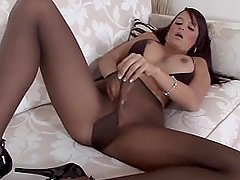 Sasha is so sheer and amazing posing in ultra sheer dark suntan pantyhose