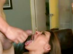 Luscious babe Raylene gets a mouth full of warm cum