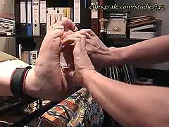 German blonde sandals tickling