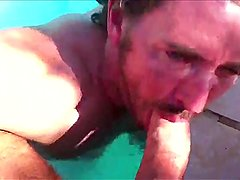 Sucking XXL Uncut Cock In Pool