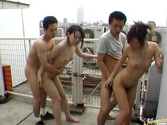 Asian Girls Getting Fucked In A Foursome On A Rooftop
