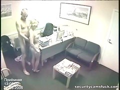 Receptionist is Happy to Help with a Stiffy